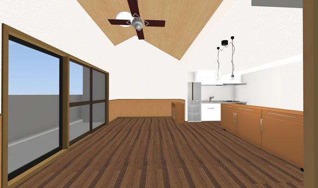 和室よりリビングへの3Dイメージ
