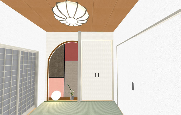 3Dパース和室床の間